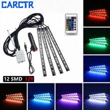 цена на CARCTR 4Pcs 12V 10W Colorful LED Lights Strip Car Decorative Atmosphere Lamps Car RGB LED Strip Light Car Interior Light Remote