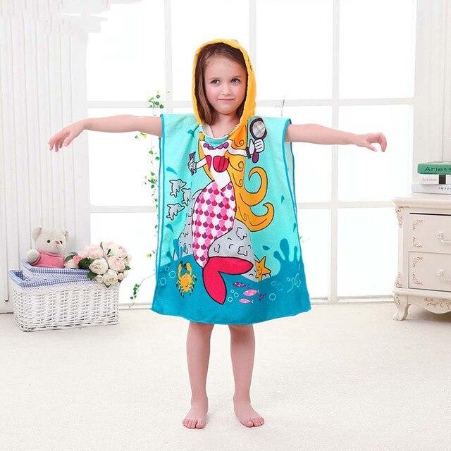 New Children Beach Towel Kids Hooded Cloak Cartoon Baby Boys Girls Towel Bibulous Towel For Children