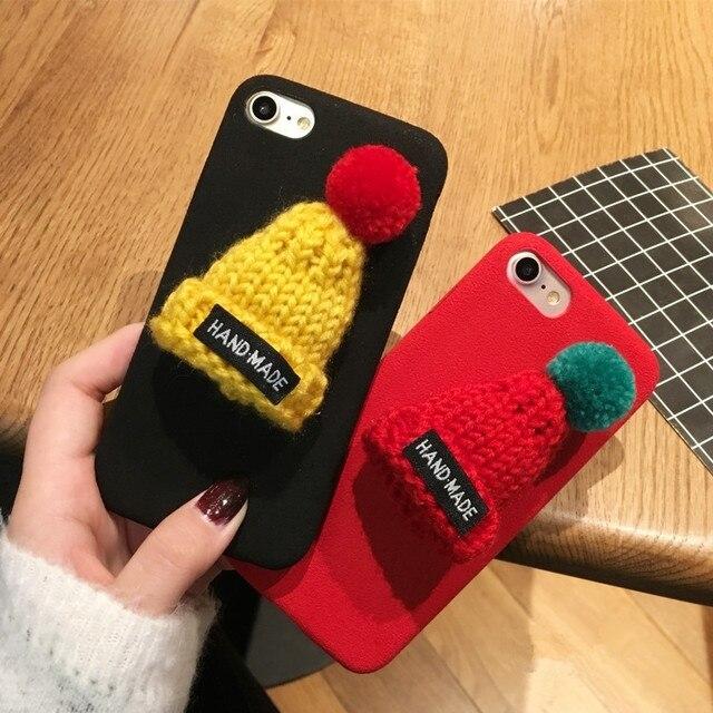 christmas santa claus case for iphone x warm fur ball case plush 3d hat phone case