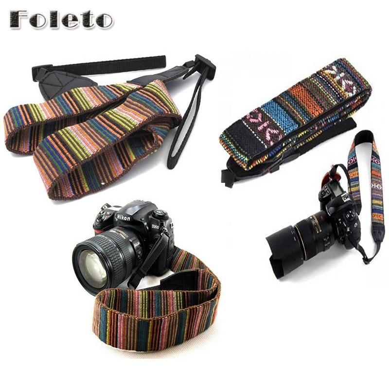 Винтажный ремешок для камеры, с плечевым ремнем, с противоскользящим ремешком, мягкий прочный в полоску для камер canon, nikon, sony, pentax