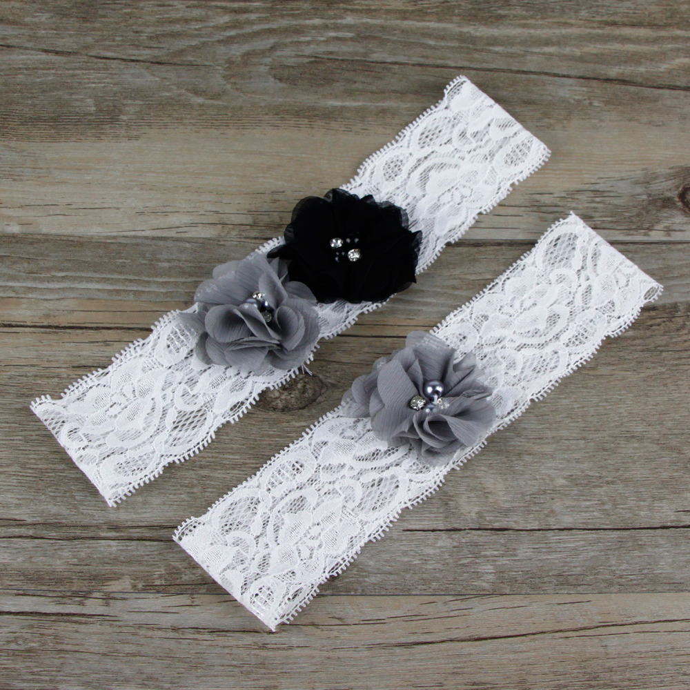 Vintage Lace Wedding Garter Set: 1 Pair Charcoal Grey Wedding Garter Lace Garter Set Bridal