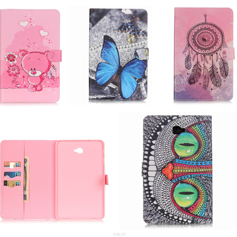 YH Luxury butterfly Bear OWI Style PU Leather Case Cover for Samsung Galaxy Tab A A6 10.1 inch T580N T585 T580 SM-T585C Tablet yh printed flip stand skull cute owi leopard pu leather cover case for samsung galaxy tab e 9 6 inch tablet t560 t561 sm t560