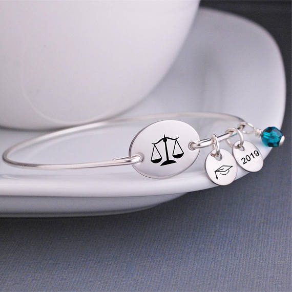 Scales of Justice Bracelet, Gift for Lawyer, Law School Graduate Gift, Gift for Judge YP3784 image