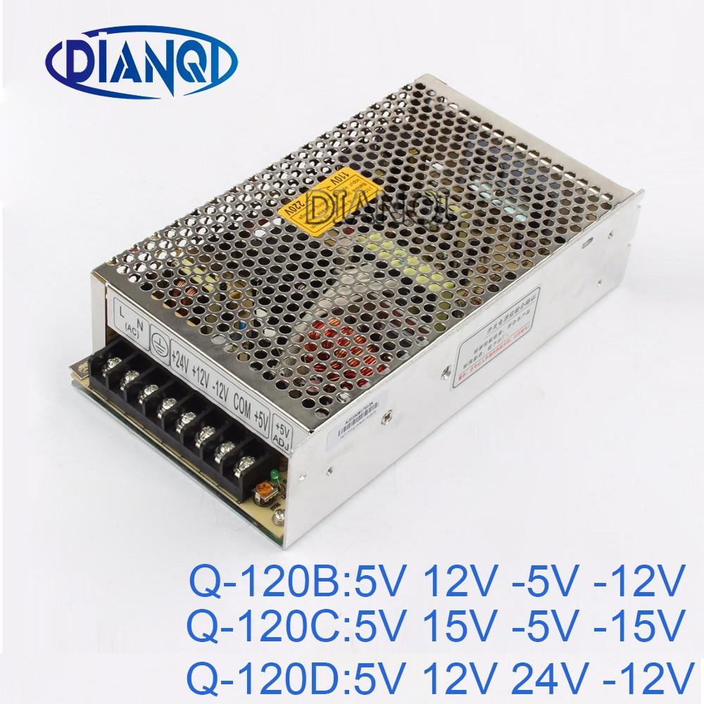DIANQI -5V quad output Switching power supply 120W 5V 12V 24V -12V suply Q-120 15V -15V ac dc converter q 120b four output switching power supply 120w 5v 12v 5v 12v ac dc converter 110v 220v transformer to dc 5v 12v 5v 12v