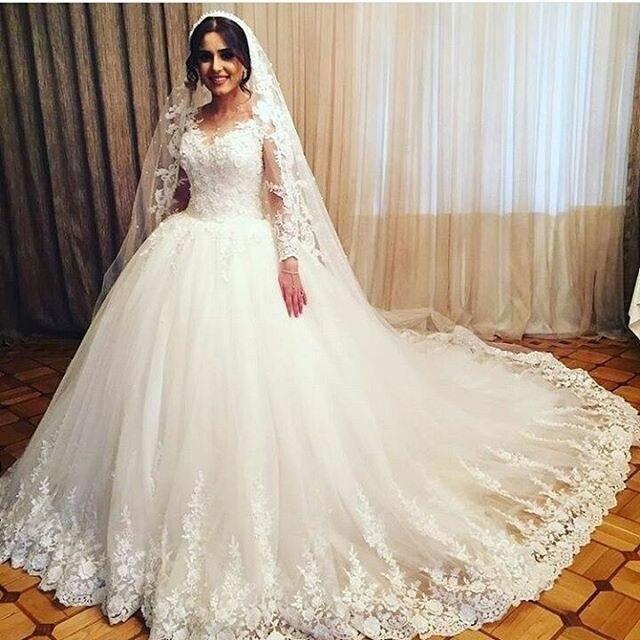 a03a627cef5e0b4 ... Vestidos De Noiva · Щедрый Кружева бальное платье с рукавами свадебное  платье 2019 накладной лиф суд поезд Кружевные свадебные платья