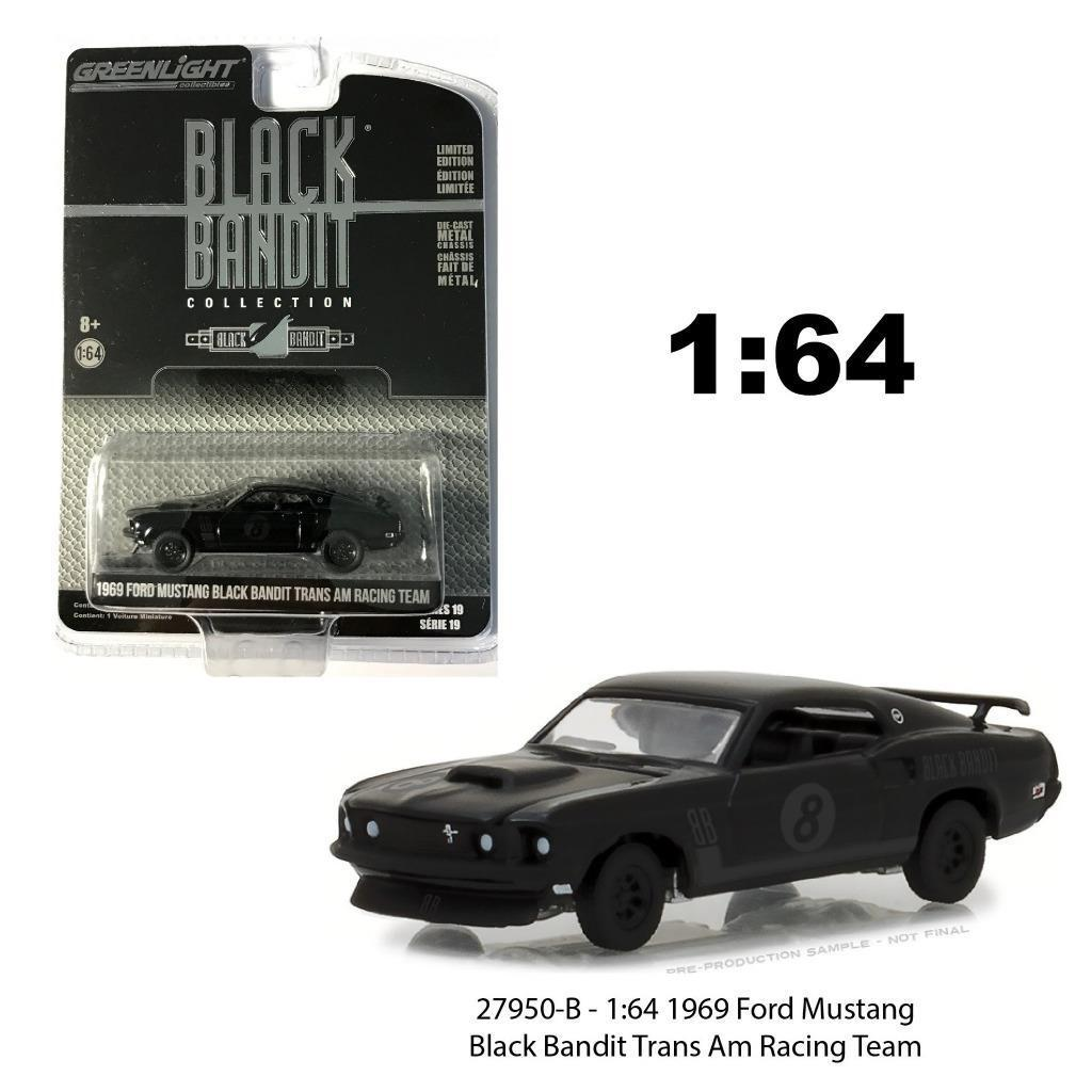 Gl 164 1969 ford mustang black bandit alloy model car diecast metal toys birthday gift for kids boy