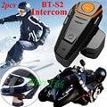 2 pcs BT-S2 Interfone 1000 M Capacete Da Motocicleta Fone de Ouvido Intercomunicador Fone de Ouvido Bluetooth Sem Fio À Prova D' Água 2 Riders Interphone de Rádio FM