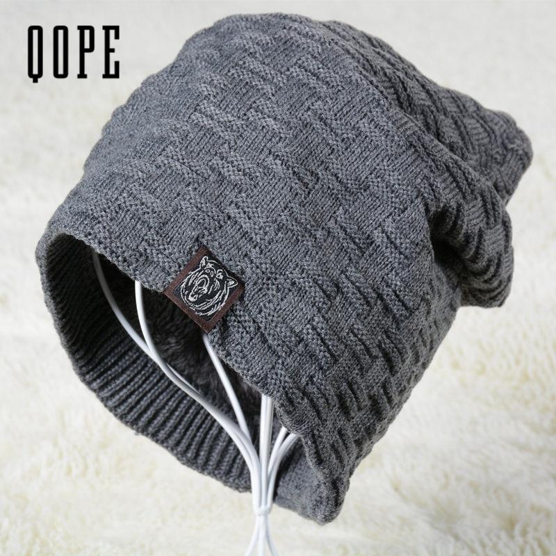 2017 NEW Men's Skullies Hat Bonnet Winter Beanie Knitted Hat Plus Velvet Cap Thicker Mask Fringe  Sports Beanies Hats for men skullies