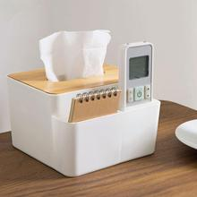 Plastic Tissue Box With Oak Wooden Cover Phone Holder Napkins Case Home Organizer Decor Office Table Desktop