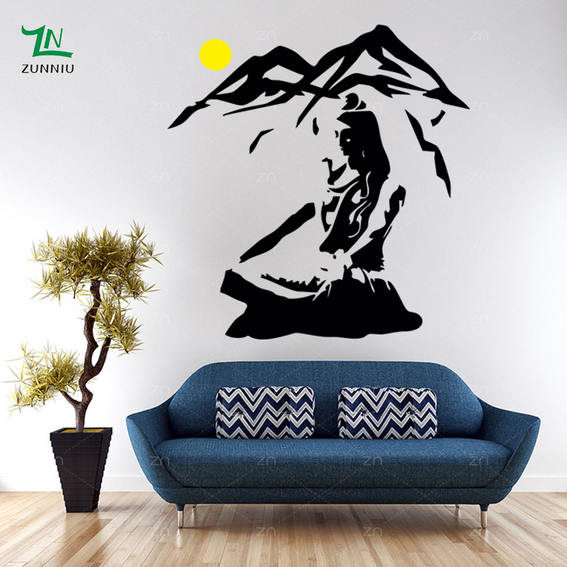 Lord Shiva Wall Sticker Vinile Hindu Dio Decalcomanie Meditazione - Home decor