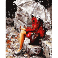 1PCS 40 50 DIY Oil Painting Rain Girl Picture By Numbers Brush Drawing On Canvas Calligraphy