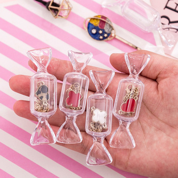 Cute Teen Girls Candy Shape Transparent MakeUp Storage Box Mini Portable Earrings Jewelry Bag Travel Cosmetic Case Organizer