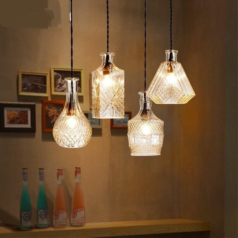 Creative glass jar pendant lights personality bar living room restaurant lighting pendant lamp fashion individuality lighting ZA