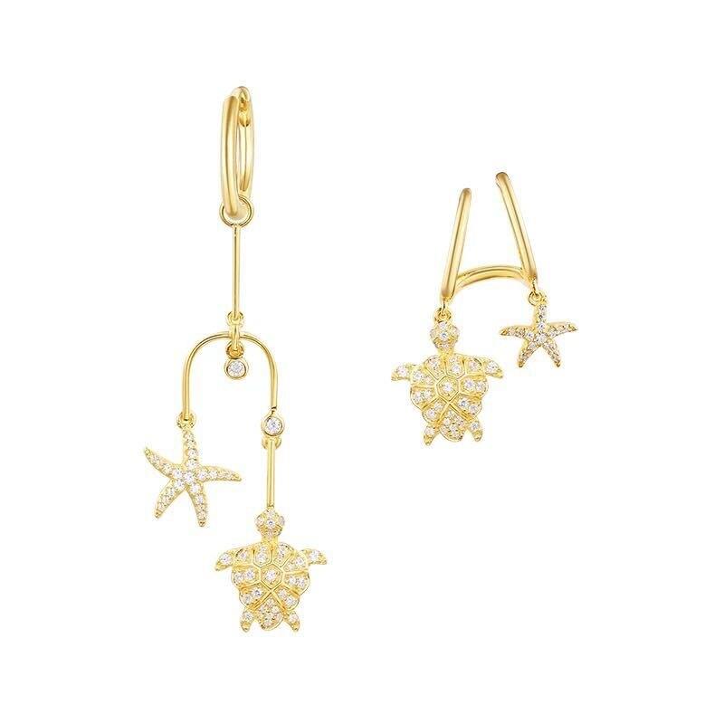Célèbre tortue étoile de mer conception boucles d'oreilles Monaco 2018 bijoux d'été AAA micro zircon pur solide 925 boucles d'oreilles en argent sterling