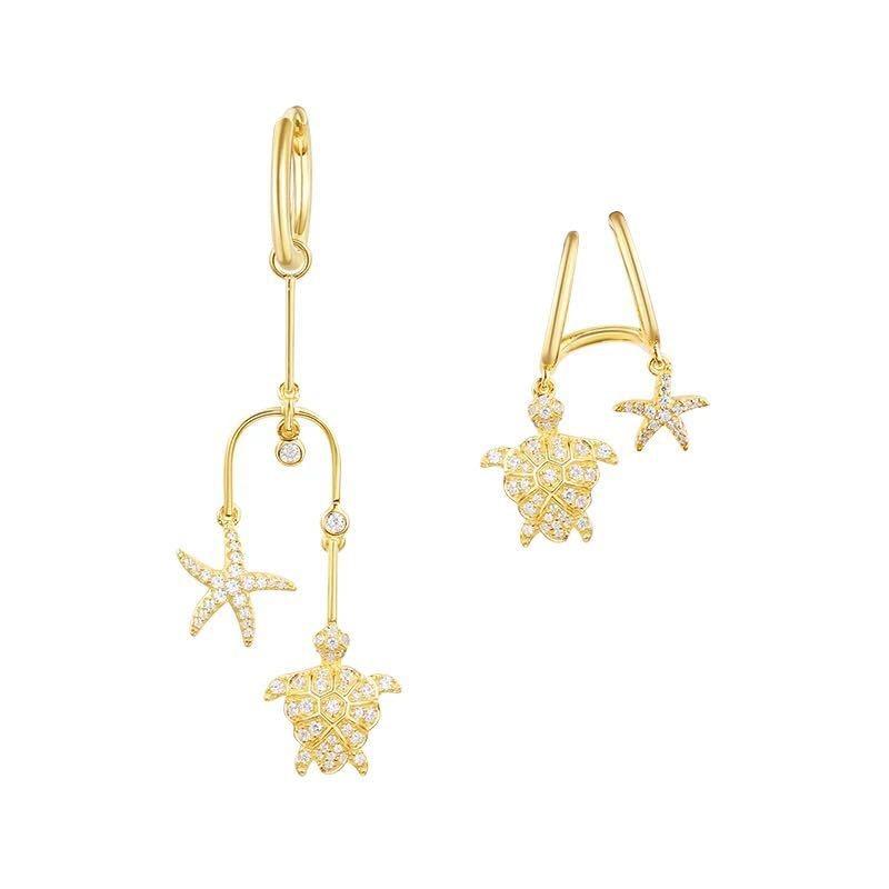 Luxury Turtle starfish design earrings Monaco 2018 Summer Jewellery AAA micro zircon pure solid 925 sterling silver earrings