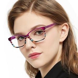 Image 5 - แฟชั่นลาย Clear กรอบแว่นตาผู้หญิง Vintage Presbyopia แว่นสายตาสายตาสั้นกรอบแว่นตา Nerd กล่อง MARE AZZURO AMOS