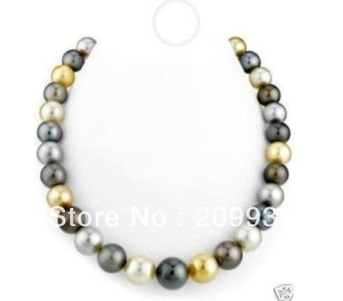 Huij 001126 15 - 16 mm australienne mer au sud noir blanc gris or collier de perles 18 polegada 14 KG
