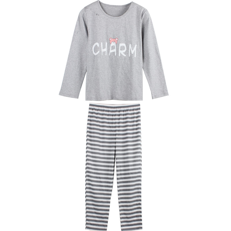 Brand Long Sleeved Cotton Pajamas Sweet Girl Pyjama Striped Sleep Lounge Pajama Sets Femme Womens Sleepwear Gray Home Clothing