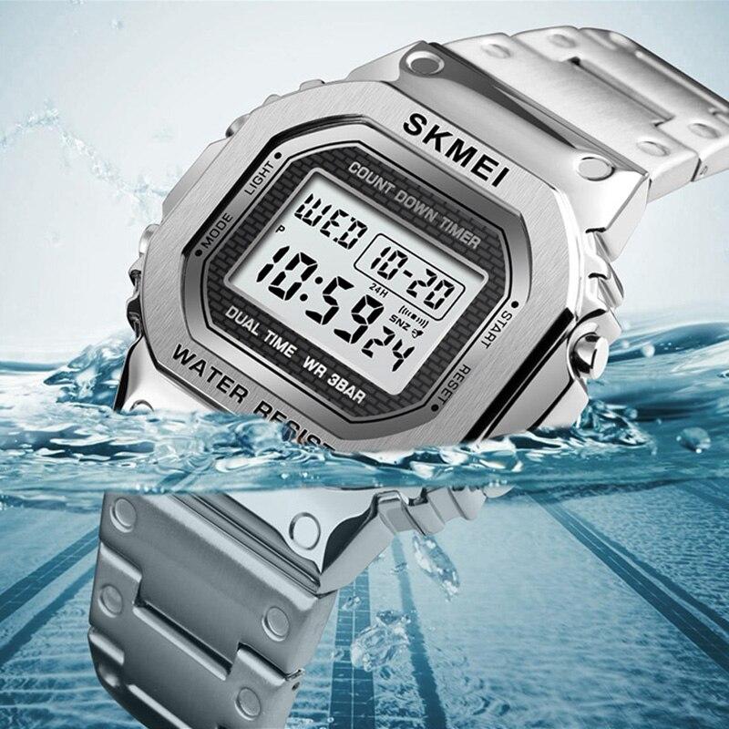 Relógio masculino esporte ao ar livre relógio de pulso topo da marca skmei alarme relógio de aço inoxidável contagem regressiva digital para homem reloj hombre