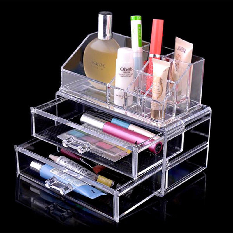 Clear acrylic makeup organizer with Two Drawers Jewelry Case Storage