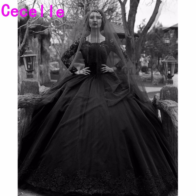 Black Gothic Wedding Dresses 2019 Long Sleeves Beaded Lace Tulle