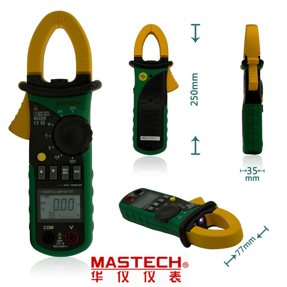 Mastech MS2208 Harmonic Clamp meter On Type Power Meter Tester Multimeter Measures True RMS Harmonic tester mastech ms2208 harmonic power factor clamp meter tester multimeter dmm mastech