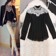 2016 New Fashion Promotions trendy cozy fashion women clothes casual Blouse Diamond Beaded lace Shirt Slim shirt for women tops
