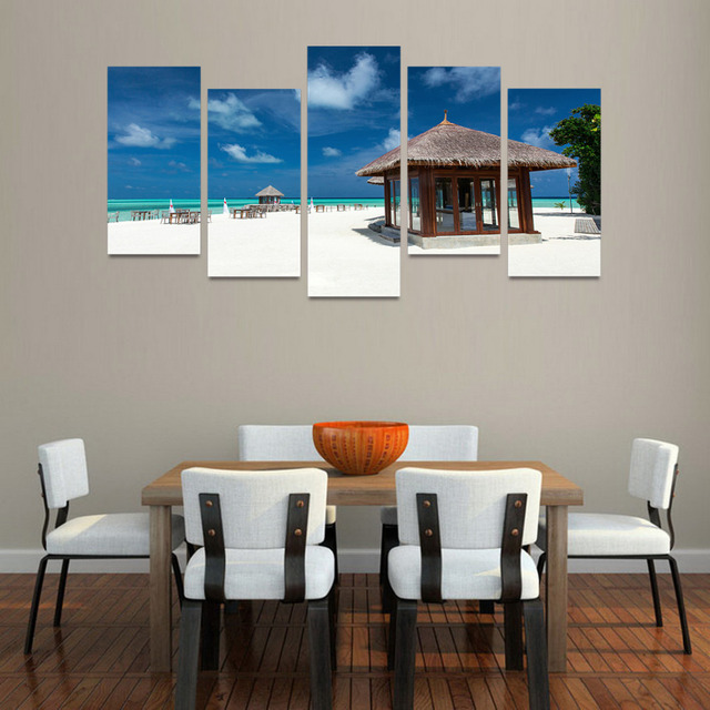 5 panels canvas print wood house on beach painting for living room
