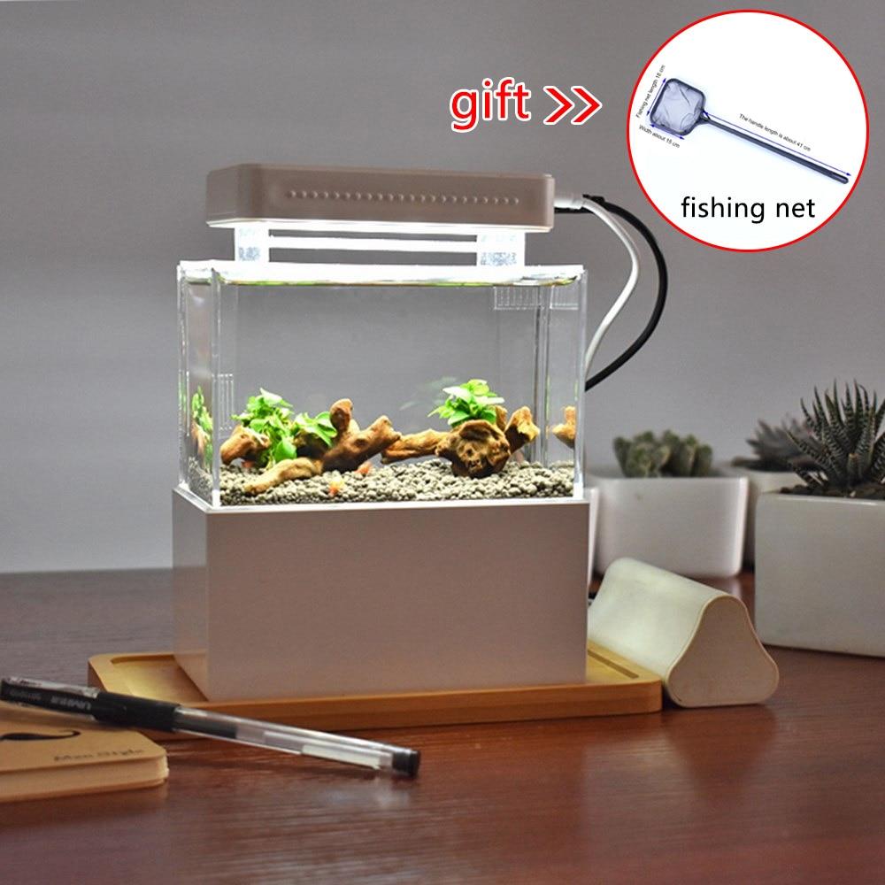 Mini réservoir de poisson en plastique Portable Aquarium de bureau bol de poisson avec Filtration de l'eau LED et silencieux pompe à Air Mini accessoires d'aquarium