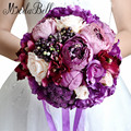 2016 New Artificial Purple Bridal Bouquets Romantic Silk Bouquet Mariage For Brides Artificial Bouquets Holding Flower