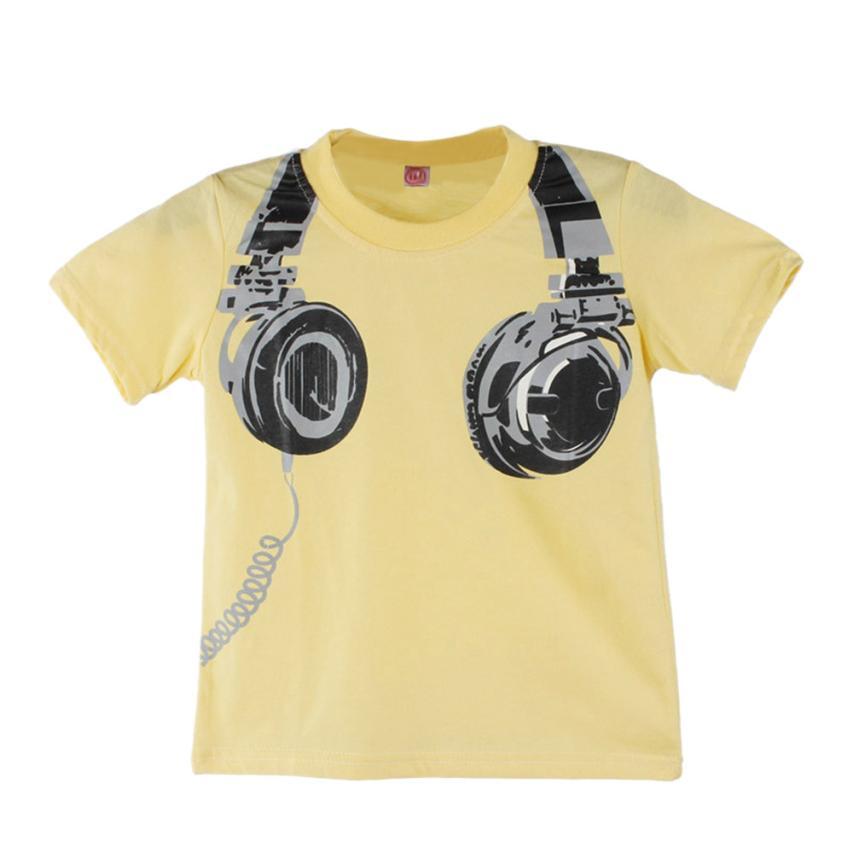Tops Blouses Short-Sleeve Headphone T-Shirt Boy Kids Tees Summer Top-15