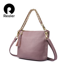 REALER brand fashion female Genuine Leather shoulder bags handbags women famous brands messenger bags 2017 Black/Red/Purple/Gray(China)