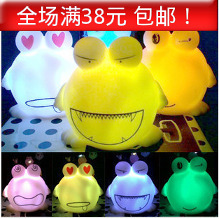 Free Shipping Child baby luminous light-up toy frog small night light furniture accessories