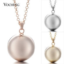 10pcs/lot Vocheng Baby Chime Round Jewelry Pendant Necklace with Stainless Steel Chain VA 054*10 Free Shipping