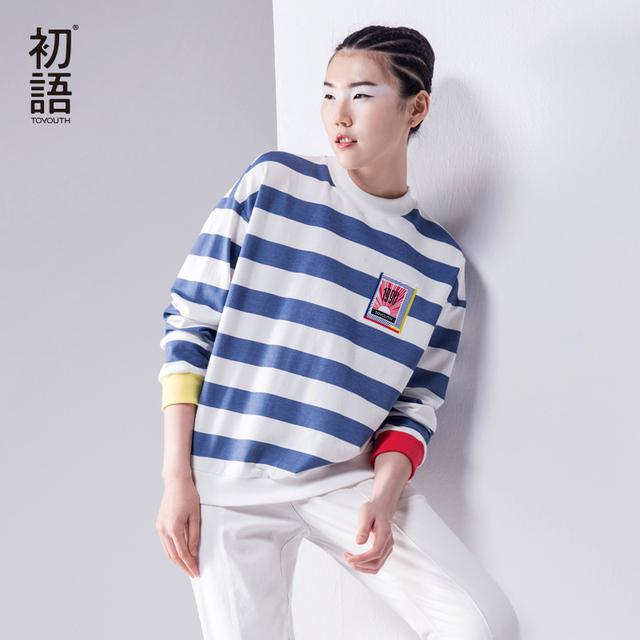 Toyouth outono novas camisetas mulheres listrada manga longa o-pescoço de algodão solto t tops da moda senhora