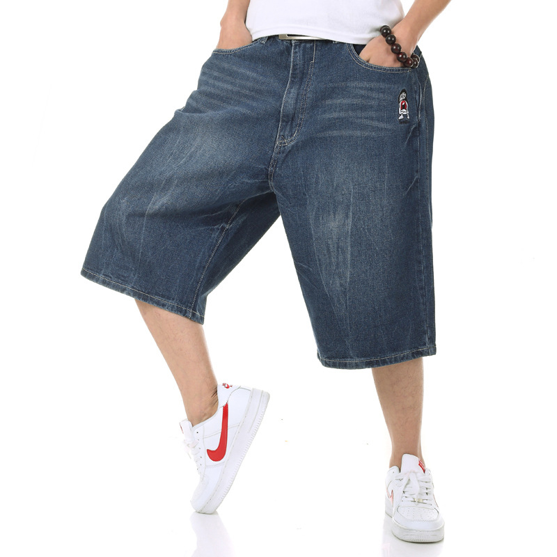Top Quality Summer Big Size Wide Leg Male Skateboard Swag Baggy Jeans Shorts Men Capri Denim