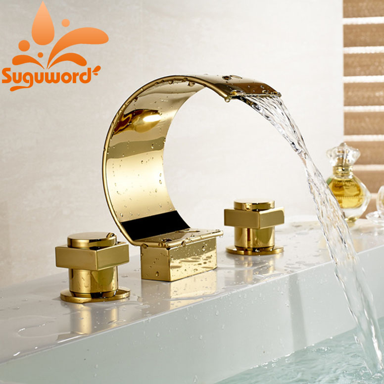 Widespread 3 Holes Waterfall Basin Faucet Gold Finish Bathroom Sink Mixer Tap цена