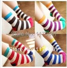 2-12y primavera raya del arco iris de algodón de invierno Niños Niño Niña calcetines 10 pair = 20 unid = lot bebé niños ropa al por mayor, envío gratis