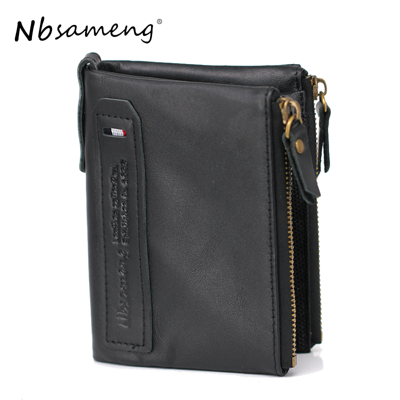 Nbsameng 2017 Genuine Crazy Horse Leather Men Wallet Short Coin Purse Small Vintage Wallets Brand High Quality Designer Carteira high quality vintage men genuine leather wallet with coin bag brand wallets carteira masculina couro leather purse free shipping