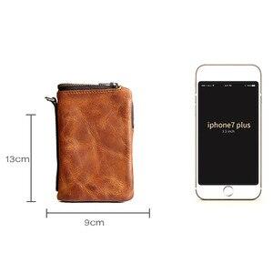Image 5 - AETOO court portefeuille rétro ancien première couche cuir homme cuir portefeuille jeunesse vintage vertical fermeture éclair portefeuille