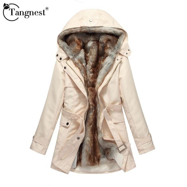 Tangnest 2017 mulheres casacos de inverno e casacos mulher da pele do falso parka quente capuz casaco plus size básica jaqueta wwm056