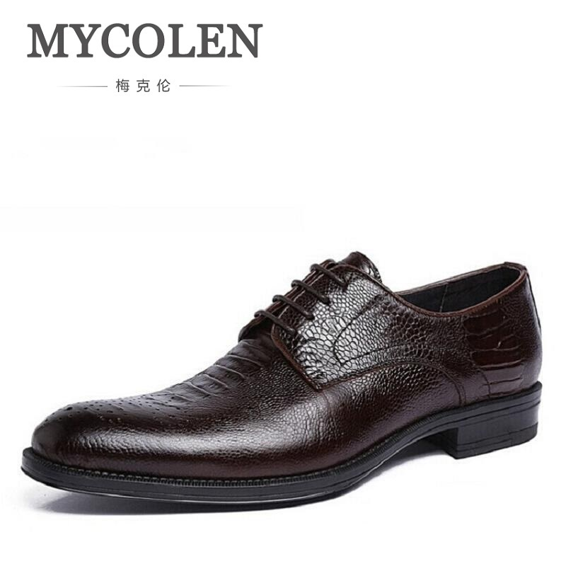 MYCOLEN Genuine Leather Bullock Men Flats Shoes Luxury Fashion British Business Men Derby Crocodile Design Dress Shoes ayakkabiMYCOLEN Genuine Leather Bullock Men Flats Shoes Luxury Fashion British Business Men Derby Crocodile Design Dress Shoes ayakkabi