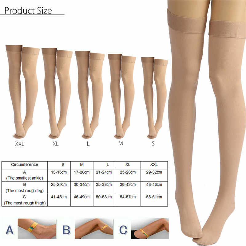 b818862b29 ... A Pair Medical Prevent Varicose Veins Socks Skin Color Anti Skid  Compression High Thigh Stocking Pain