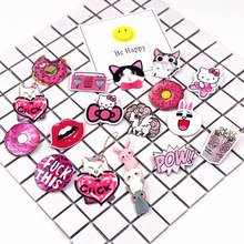 0713d7044 1PCS Harajuku Acrylic pink pins Cat Horse Hello kitty Backpack Accessories  Badges Decoration fashion girls Acrylic Brooch