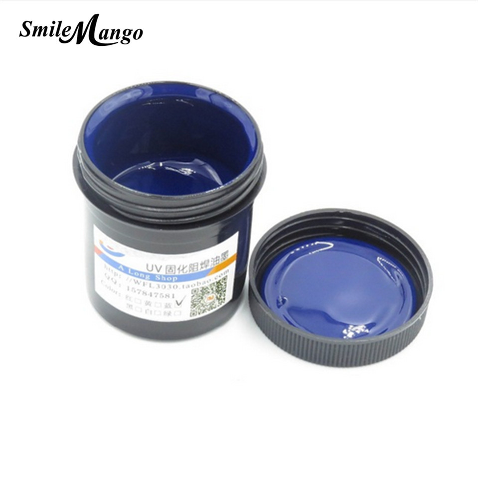 PCB UV lichtempfindliche tinten 100g Fotolack anti-ätzen Blau Tinte Farbe Für DIY PCB Trockenfilm Ersatz