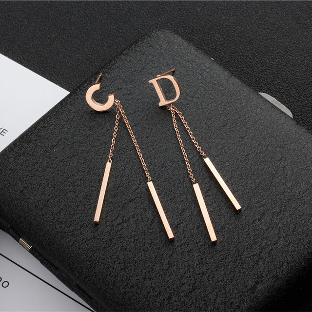 stud c letter and for woman stainless girl yunruo steel d plated color earring item gold rose