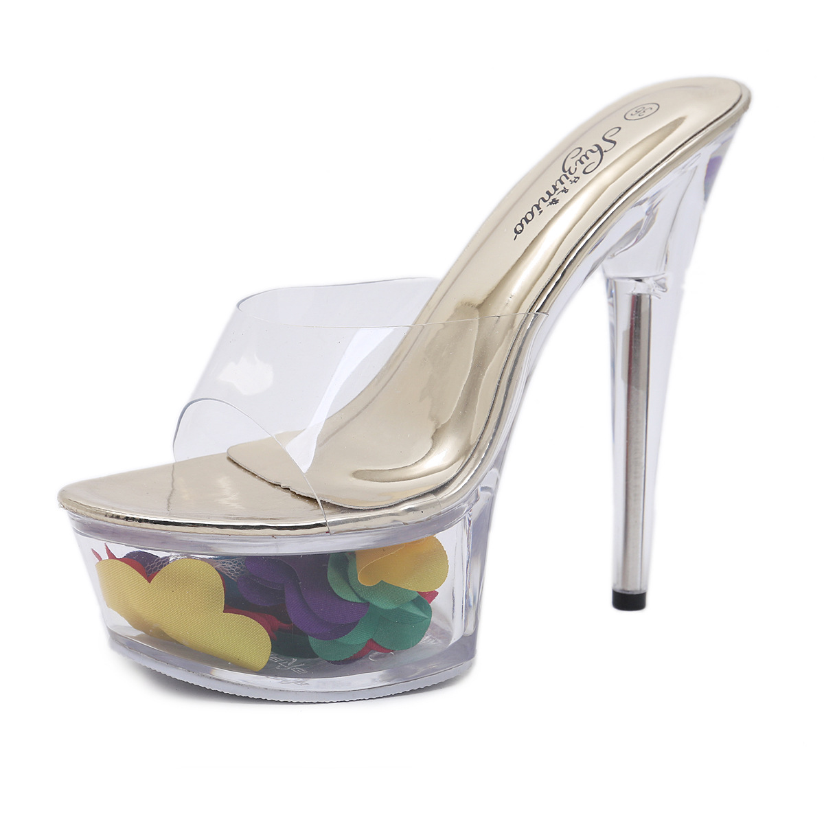 Women Platform Sandals 14cm High Heels Women Summer Transparent Shoes Slip-On Sexy Lady Stiletto Heels Platform Sandals Slippers xiaying smile new summer women sandals high square heels pumps fashion platform shoes casual lady mature style slip on shoes