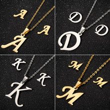 Jisensp 2019 Simple Fashion 26 Letter Jewelry Set Alphabet Long Chain Pendant Necklace Earrings for Women Wedding Jewelry Sets(China)