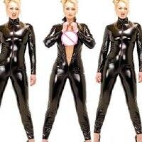 Ropa de catsuit del látex del negro cremallera frontal Faux cuero traje sexy bodycon clubwear del mono