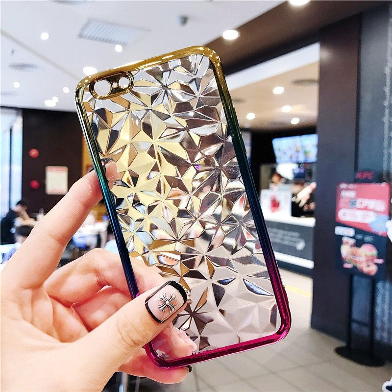 For IPhone 6 6s 7 8 plus case Gradient diamond 3D pattern TPU soft silicone case Coque on for IPhone X XR XS Max cover in Fitted Cases from Cellphones Telecommunications